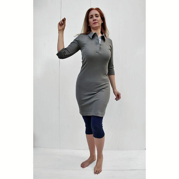 3/4 sleeves polo neck sheath organic pima cotton slowfashion quality taupe grey