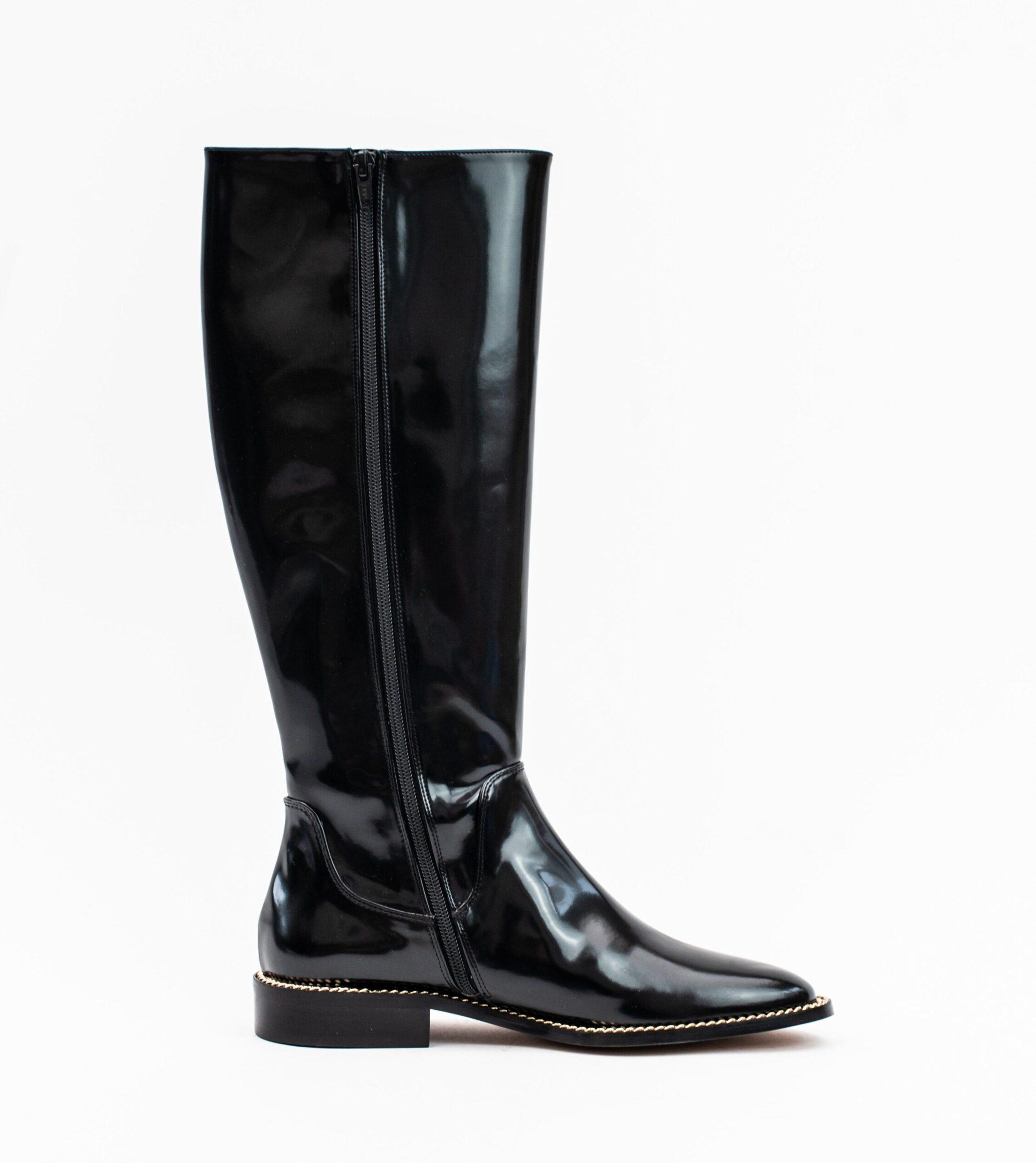 Charlotte Black Vegan High Shine Chain Long Boot