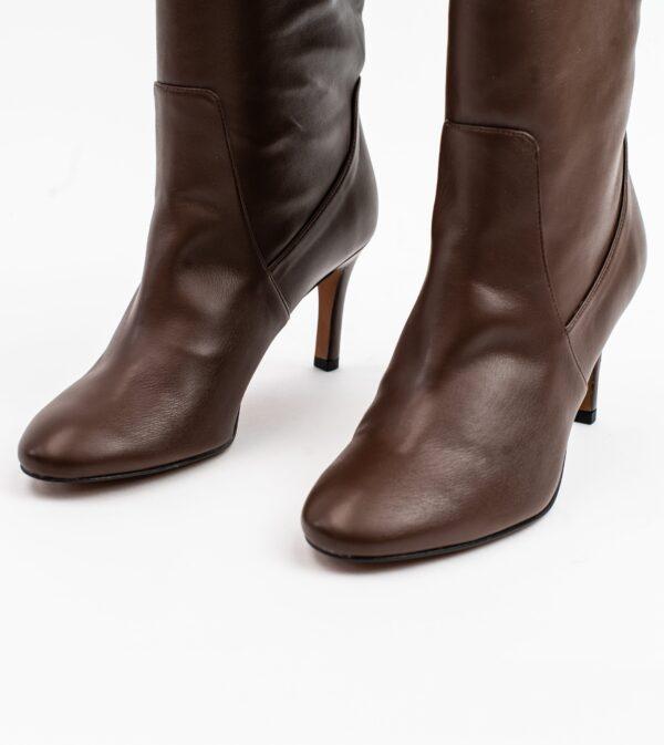 Chloe Brown Vegan Leather Heeled Long Boot
