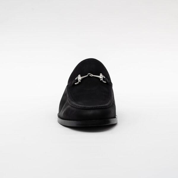 Elle Black Vegan Suede Slip On Loafer