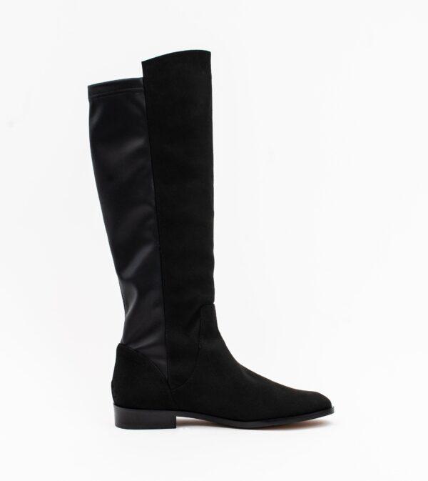Grace Black Two Tone Vegan Long Flat Boot