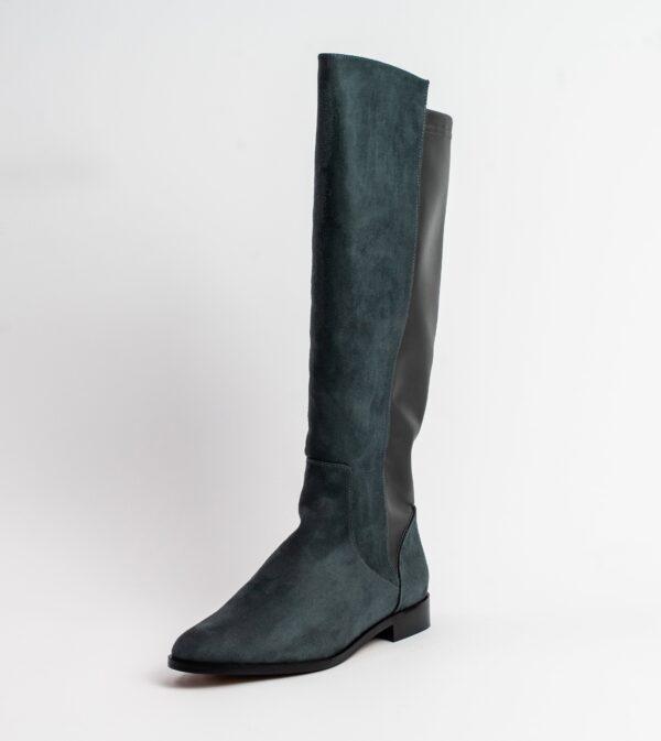 Grace Grey Two Tone Vegan Long Flat Boot