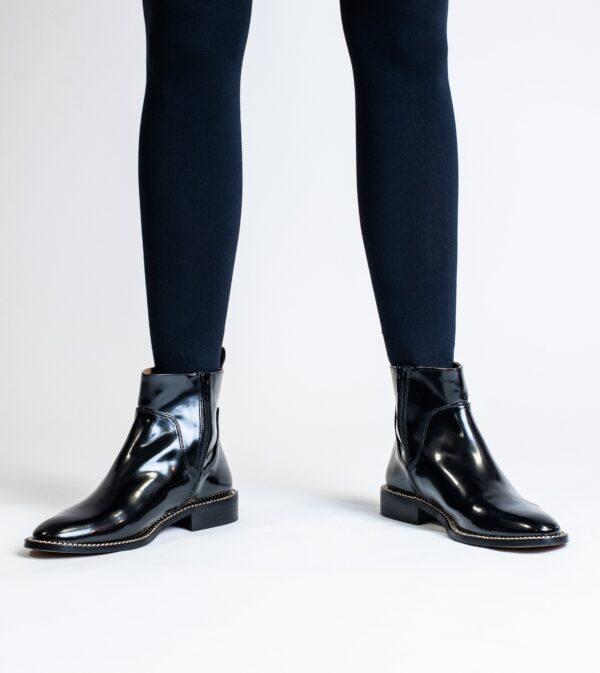 Juliet Black Vegan High Shine Chain Ankle Boot