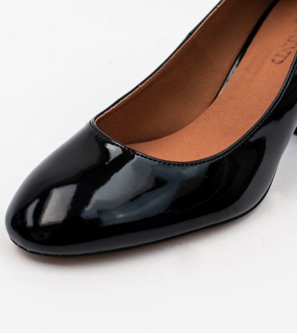 Kate Black Vegan Patent Block Heel Court
