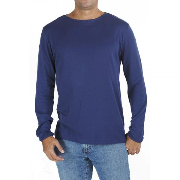 Long sleeve boat neck organic pima cotton slowfashion quality blue