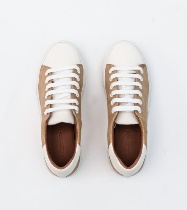 Lucy Gold Vegan Leather Lace Trainer