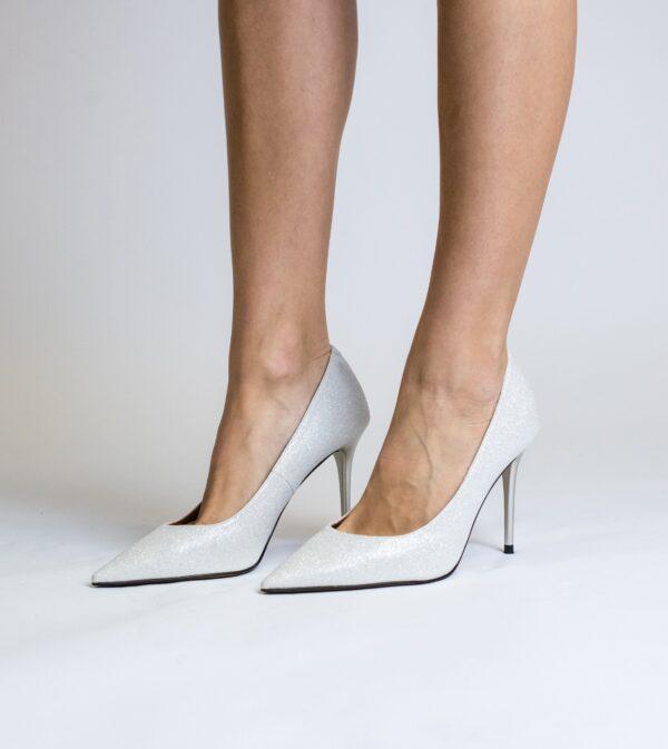 Scarlett Silver Sparkle Vegan Stiletto Party Shoe
