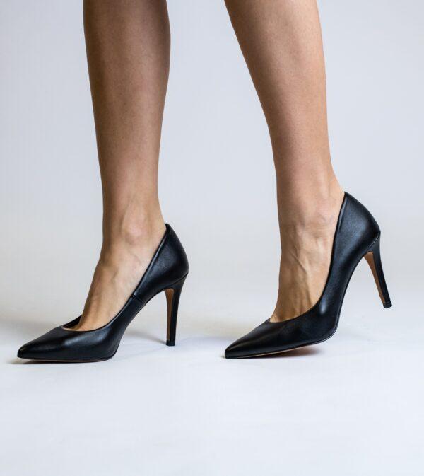 Sophie Black Vegan Leather Stiletto Court