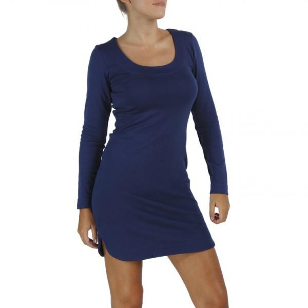 long sleeves scoop round neck sheath organic pima cotton slowfashion quality blue