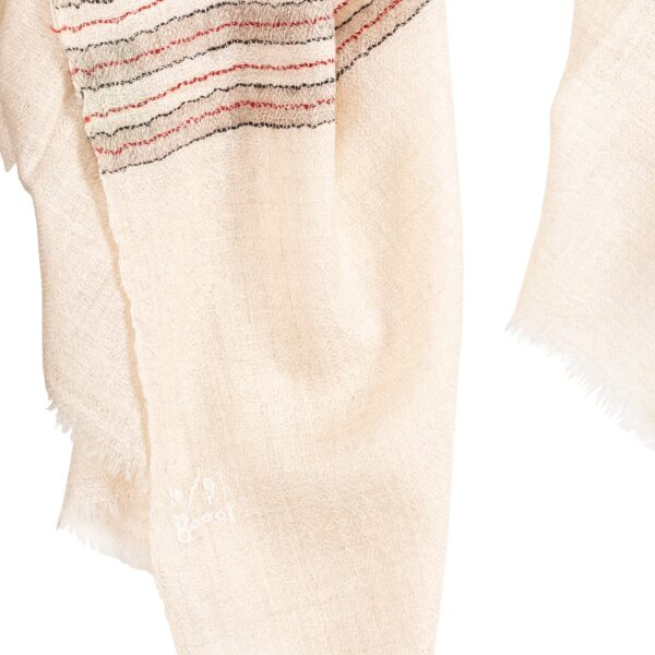 Hand woven Cream Coloured Cashmere Scarf with Red, Black and Beige Stripes