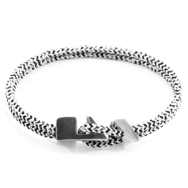 White Noir Brixham Silver and Rope Bracelet