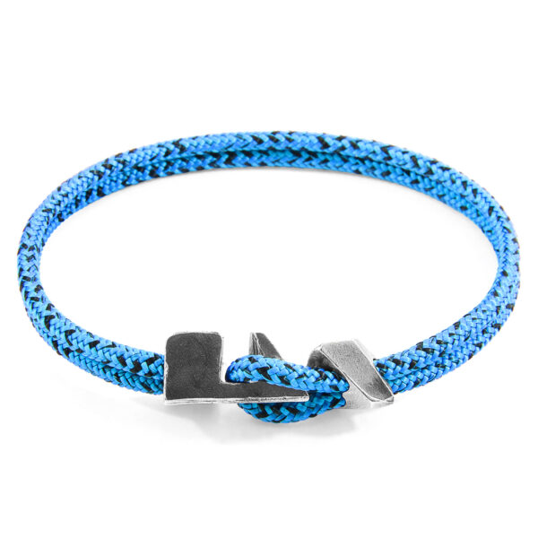 Blue Noir Brixham Silver and Rope Bracelet
