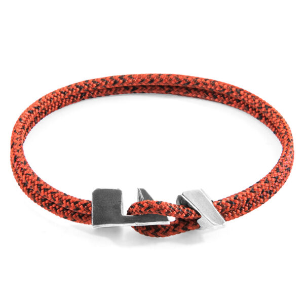 Red Noir Brixham Silver and Rope Bracelet