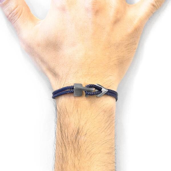 Navy Blue Brixham Silver and Rope Bracelet