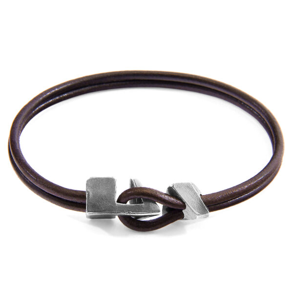 Mocha Brown Brixham Silver and Round Leather Bracelet