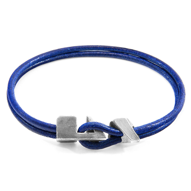 Azure Blue Brixham Silver and Round Leather Bracelet
