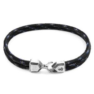 Black Cromer Silver and Rope Bracelet