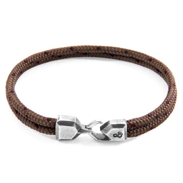 Brown Cromer Silver and Rope Bracelet