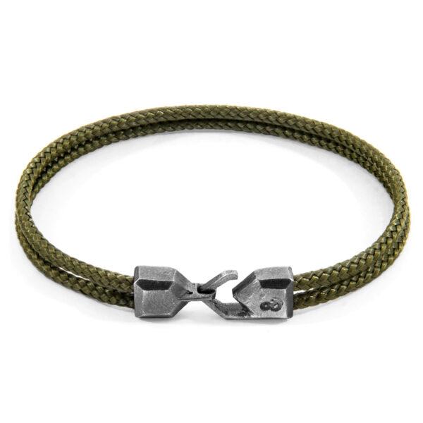 Khaki Green Cromer Silver and Rope Bracelet