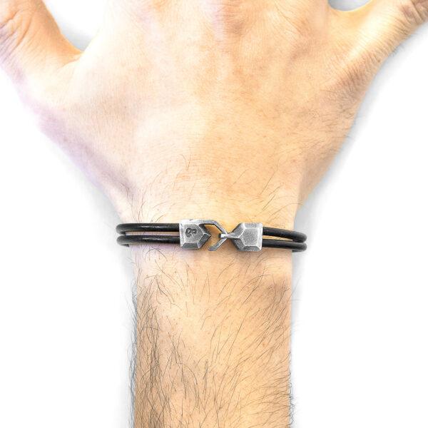 Raven Black Cromer Silver and Round Leather Bracelet