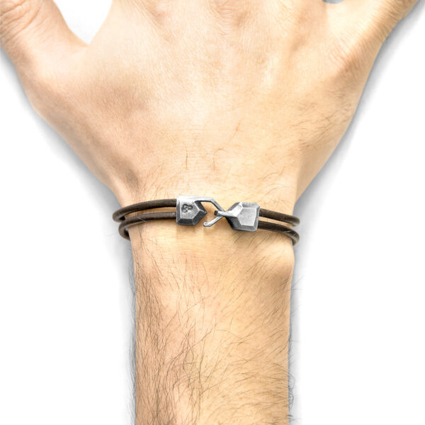 Mocha Brown Cromer Silver and Round Leather Bracelet
