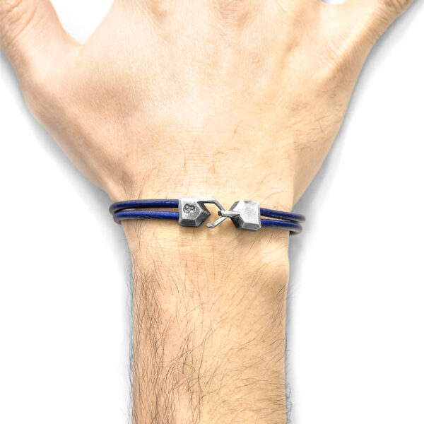 Azure Blue Cromer Silver and Round Leather Bracelet