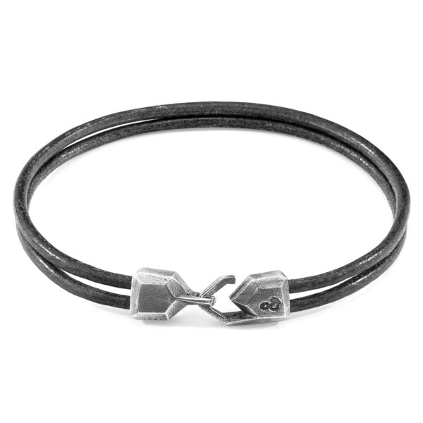 Shadow Grey Cromer Silver and Round Leather Bracelet