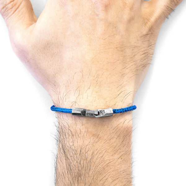 Blue Noir Talbot Silver and Rope Bracelet