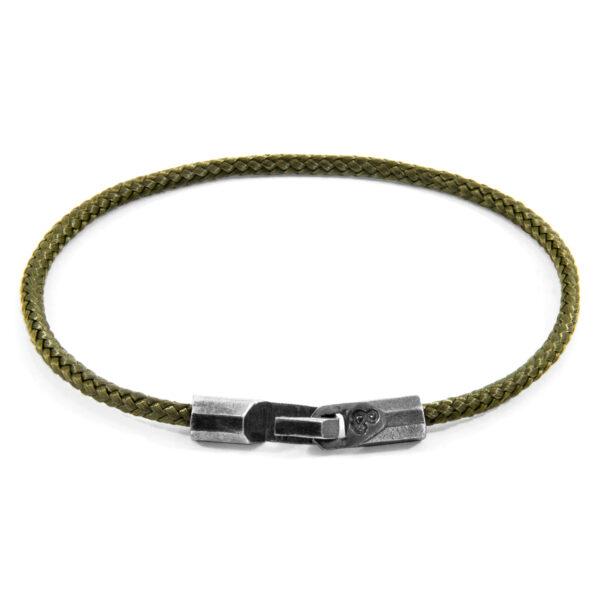 Khaki Green Talbot Silver and Rope Bracelet
