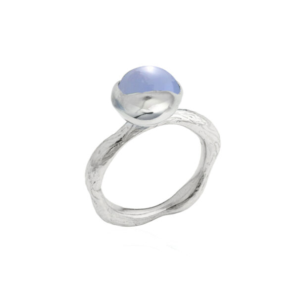 BLOSSOM Bud Ring with Blue Chalcedony