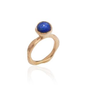 Blossom bud ring with lapis lazuli