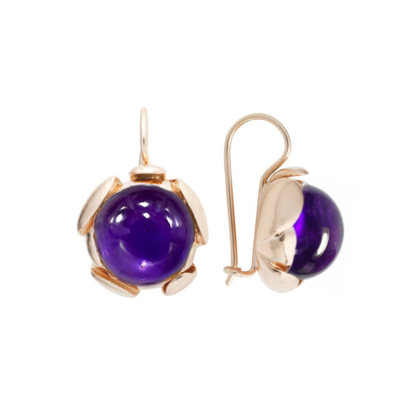 Golden Blossom Large earrings with Amethyst