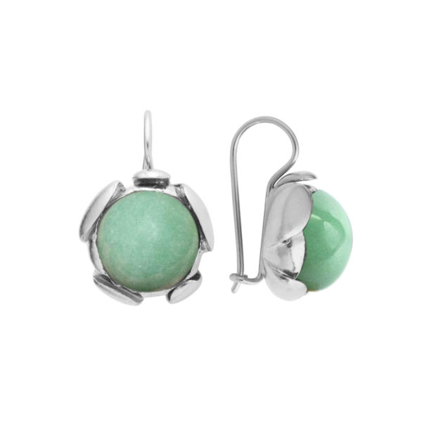 BLOSSOM large earrings with green Aventurine