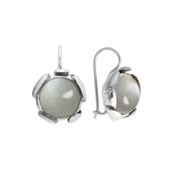 BLOSSOM Large Earrings with Grey Moonstone