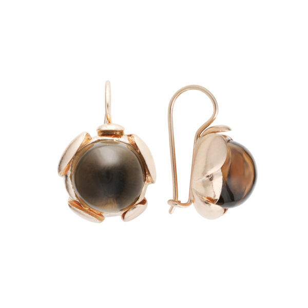 BLOSSOM large earrings with smoky quartz