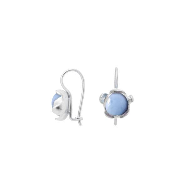 BLOSSOM hook earrings with blue Peruvian Opal