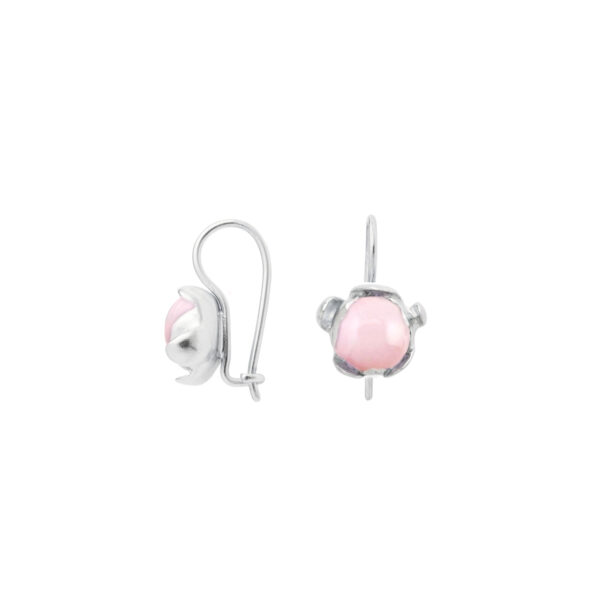 BLOSSOM hook earrings with pink Peruvian opal