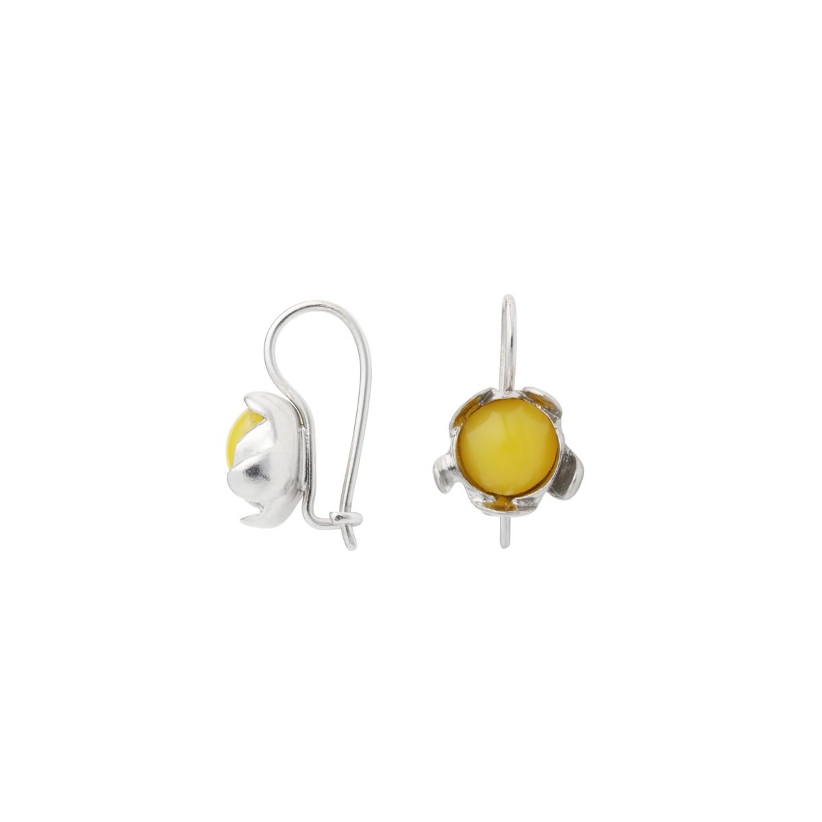 BLOSSOM hook earrings with egg yolk Amber