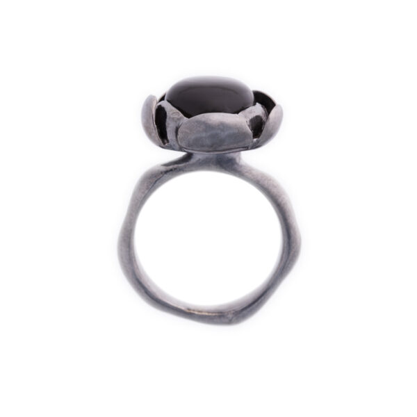 Blossom dark large ring with black moonstone