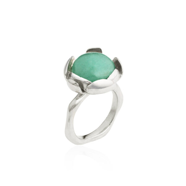 BLOSSOM large ring with green aventurine