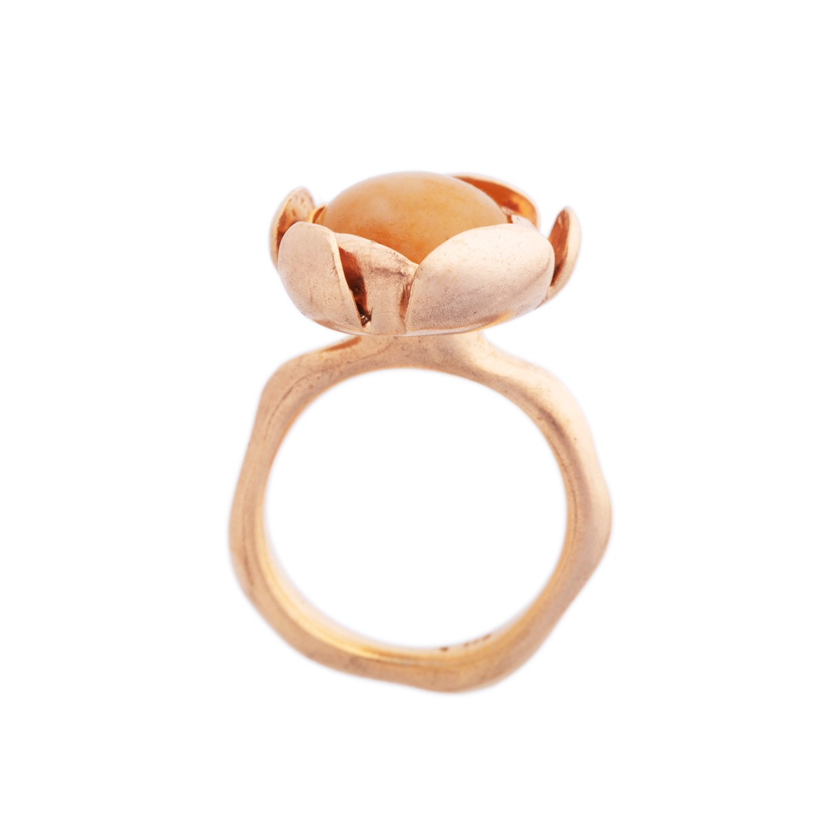 Blossom golden large ring with yellow agate