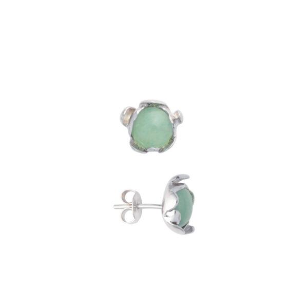 BLOSSOM stud earrings with Green Aventurine