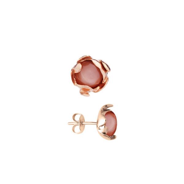 BLOSSOM stud earrings with peach moonstone