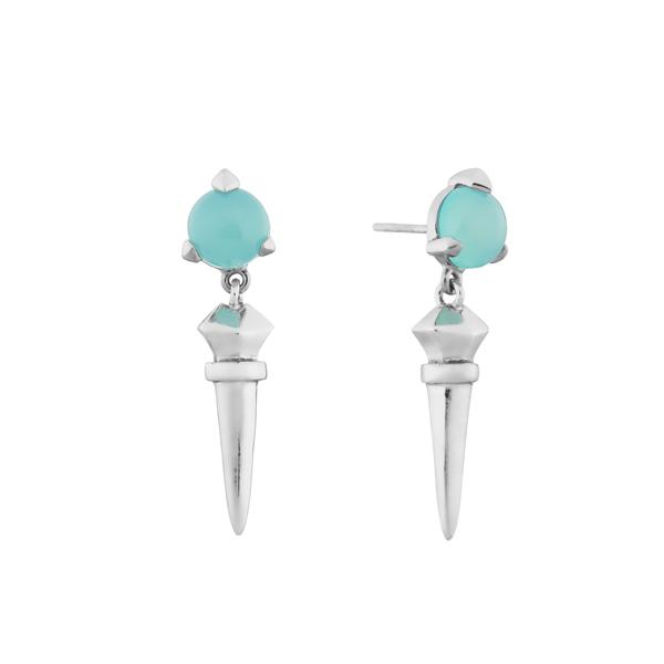 Bones Long Earrings Mint chalcedony