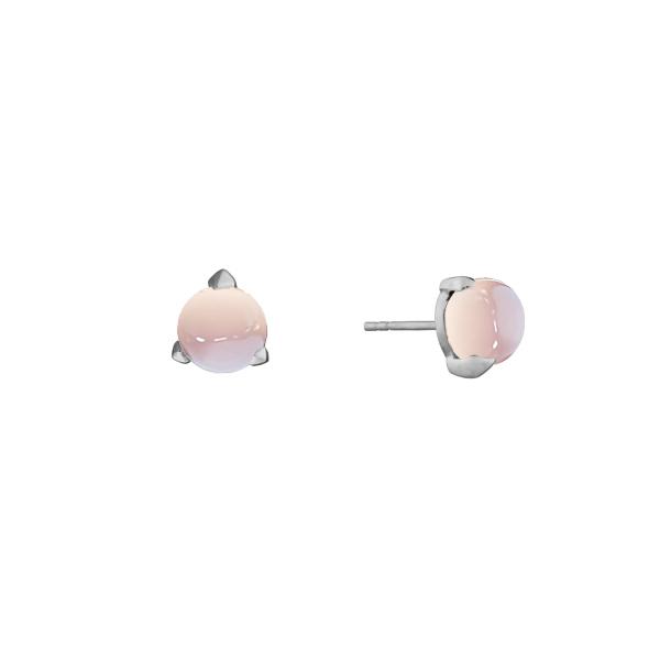 Bones mini earrings with sheer pink chalcedony