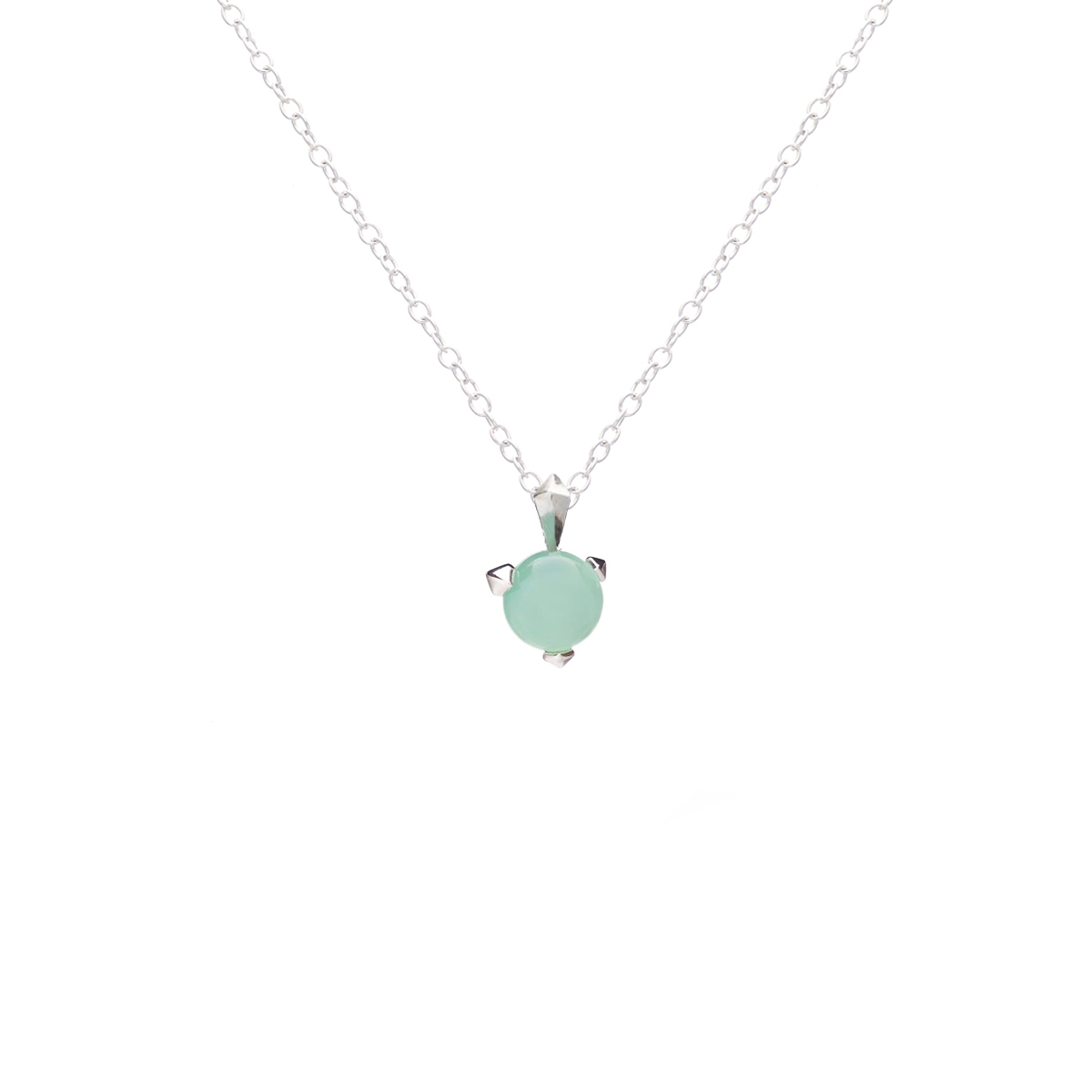 Bones necklace with mint chalcedony