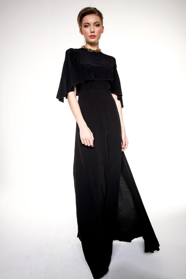 LONG WOOD SILK DRESS