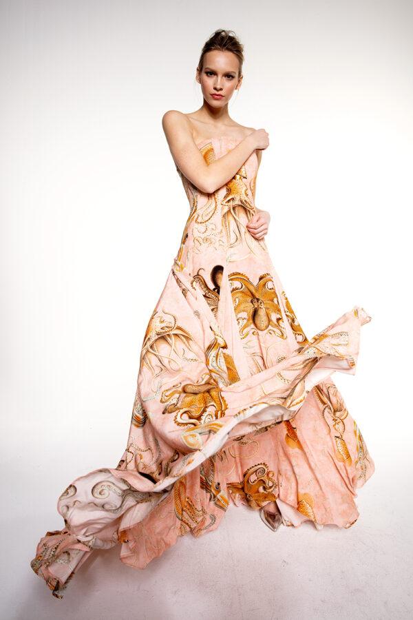 WOOD SILK-BLEND OCTOPUS EVENING DRESS
