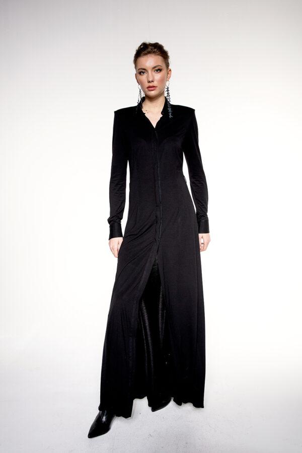 LONG BAMBOO JERSEY SHIRT DRESS