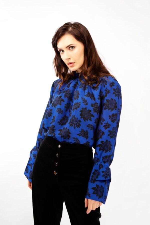 Blue and black print silk blouse